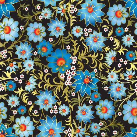 multi coloured: abstract seamless blue floral ornament isolated on a black background Illustration