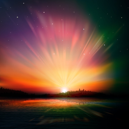 abstract nature dark background with forest lake and sunrise Vector