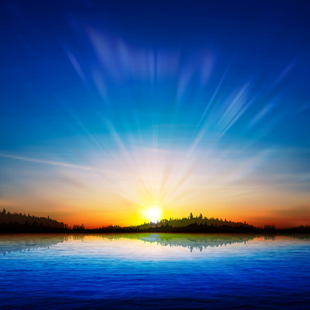 sunrise: abstract nature sunrise background with forest and lake Illustration