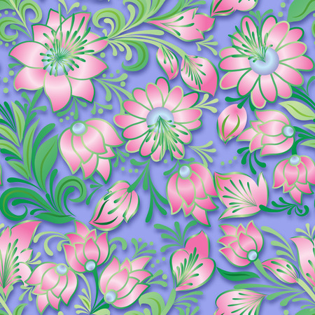 abstract vintage seamless pink floral ornament on blue background Vector
