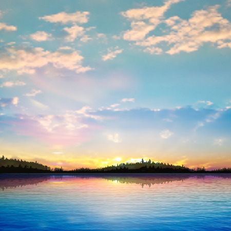 abstract sunrise background with forest lake and clouds