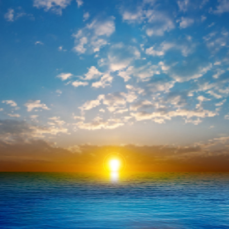 horizon over water: abstract nature background with golden sea sunset