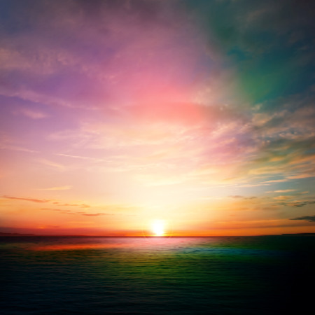 abstract nature background with pink sunset and ocean