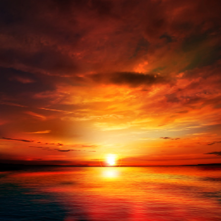 red sunset: abstract nature background with red sunset and ocean