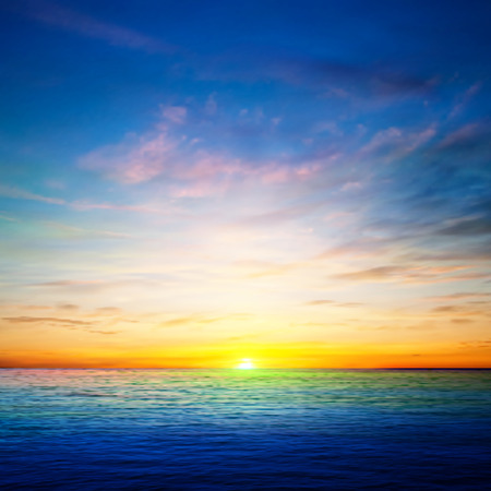 over the sea: abstract spring background with ocean golden sunrise Illustration