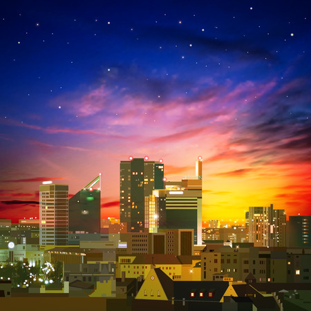 abstract nature background with city and red sunset Vector