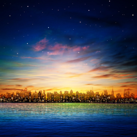 abstract nature background with panorama of city and sunset Ilustração