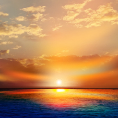 horizon over water: abstract nature background with sea red sunset and clouds Illustration