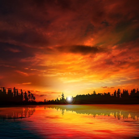 sunset lake: abstract nature dark background with forest lake red sunset and clouds