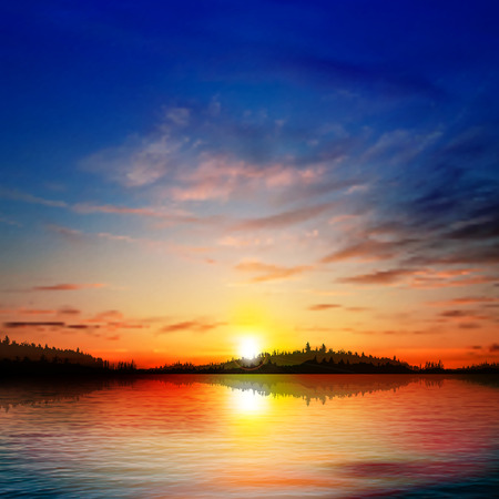 morning sunrise: abstract blue background with forest lake clouds and sunrise Illustration