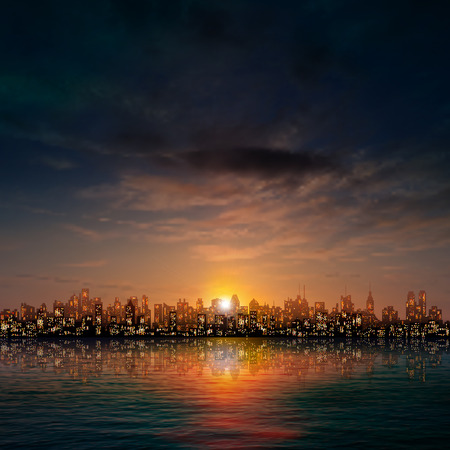 abstract dark nature background with panorama of city clouds and sunset Illustration