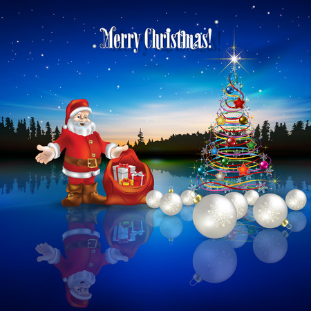 Abstract Christmas greeting with Santa Claus decorations and forest lake Illustration