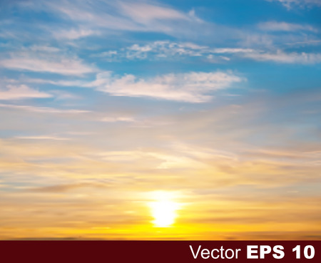 morning sunrise: abstract nature vector background with golden sunset and white clouds
