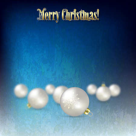 abstract celebration blue greeting with Christmas decorations on grunge background Vector