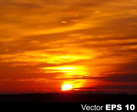 ciel rouge: caract�re abstrait ciel fond rouge avec le lever du soleil d'or Illustration