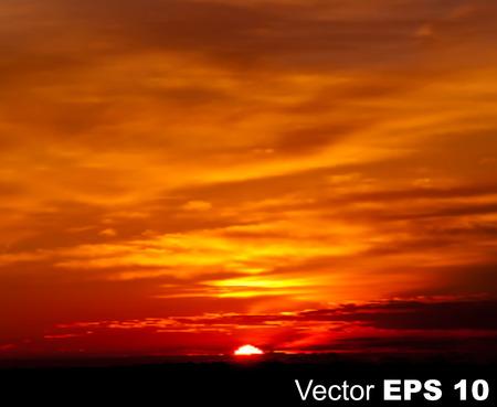 ciel rouge: caract�re abstrait ciel fond rouge avec le lever du soleil