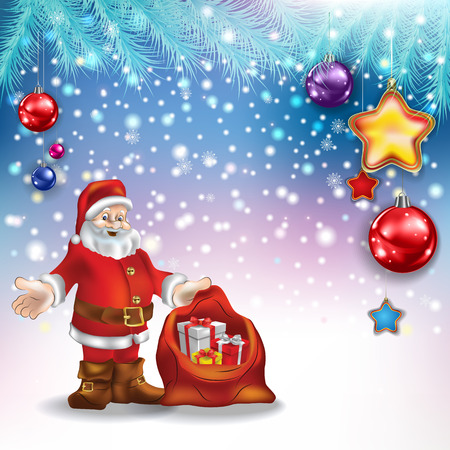 tranquil scene: Abstract Christmas greeting with Santa Claus gifts and decorations Illustration