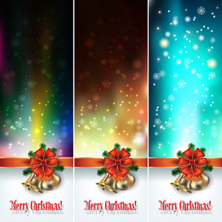 christmas backgrounds: Abstract backgrounds with Christmas bells and snowflakes