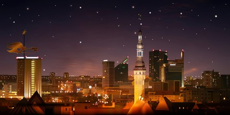estonia: abstract night nature background with stars and cityscape of Tallinn