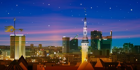 night life: abstract blue nature background with stars and cityscape of Tallinn
