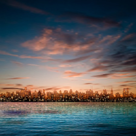 sky line: abstract nature blue background with panorama of city and brown clouds
