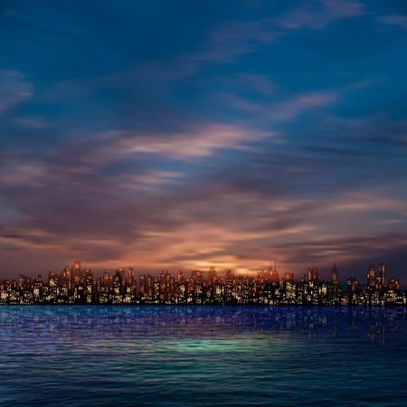 abstract nature blue background with panorama of city and clouds Vector