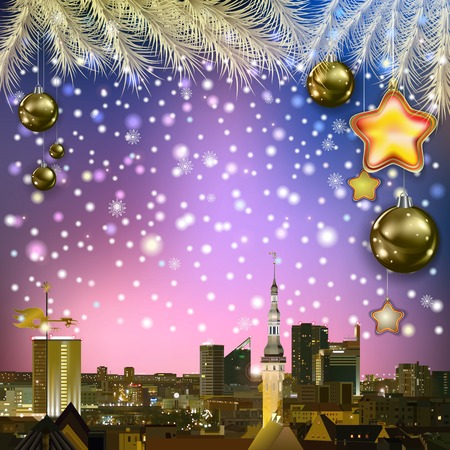 abstract celebration greeting with Christmas decorations and cityscape Vector