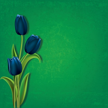 green grunge background: abstract floral green grunge background with blue tulips Illustration