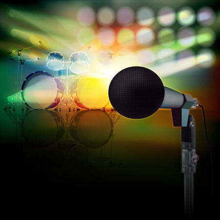 drum kit: abstract background with drum kit and microphone on music stage