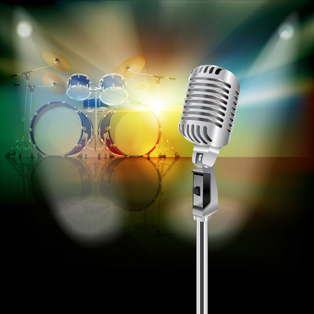 drum kit: abstract background with drum kit and retro microphone on music stage