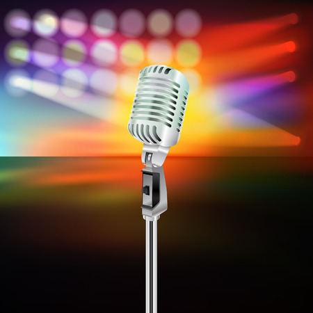 stage set: abstract background with microphone on music stage