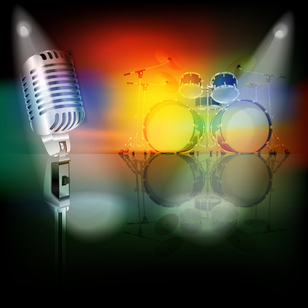 drum kit: abstract background with retro microphone and drum kit on music stage Illustration