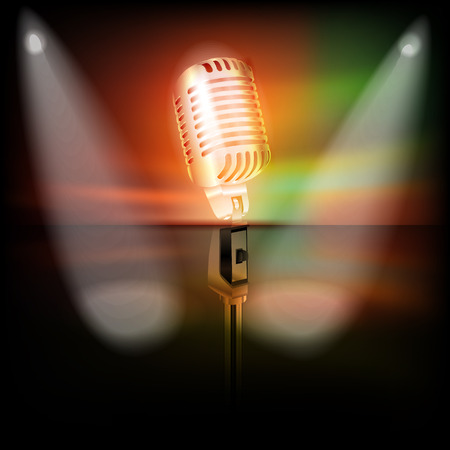 abstract dark background with retro microphone on music stage Vector