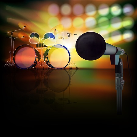 drum set: abstract jazz background with drum kit and microphone on music stage