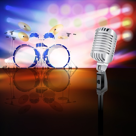 drum kit: abstract jazz background with drum kit and retro microphone on music stage