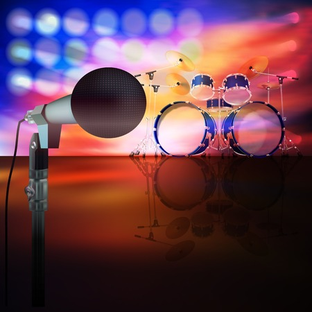 drum kit: abstract music background with drum kit and microphone on stage Illustration