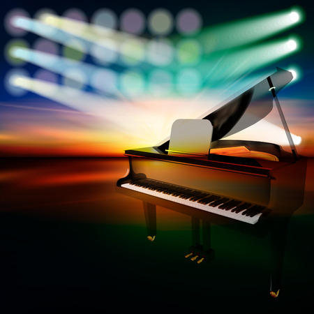 abstract dark jazz background with grand piano on music stage Vector