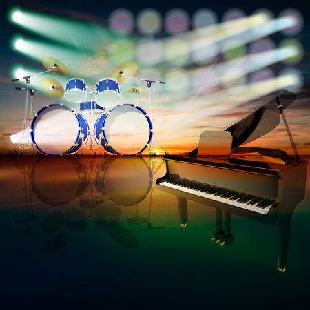abstract jazz background with grand piano and drum kit on music stage Vector