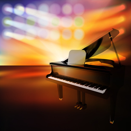 abstract jazz background with grand piano on music stage Vector