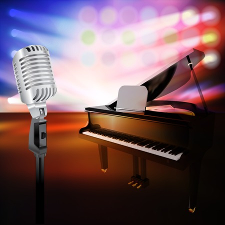 abstract jazz background with piano and retro microphone on music stage Vector
