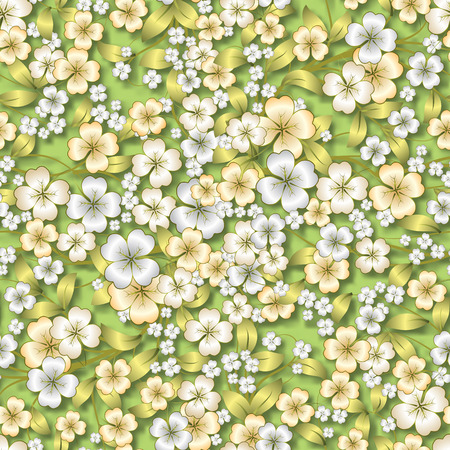 abstract seamless spring floral ornament on light green background Vector