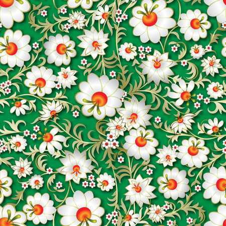 abstract seamless spring floral ornament and shadow on green background Vector