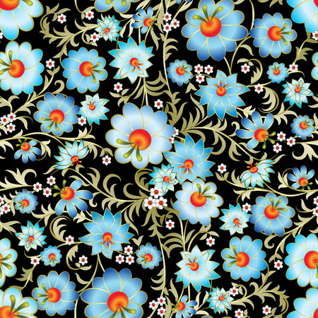 abstract seamless spring blue floral ornament on black background Vector