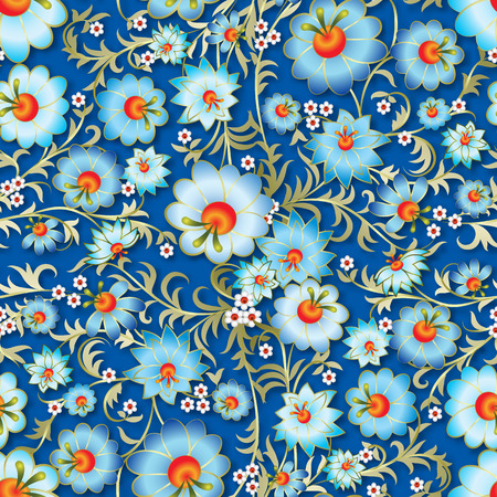 abstract seamless spring floral ornament and shadow on blue background Vector