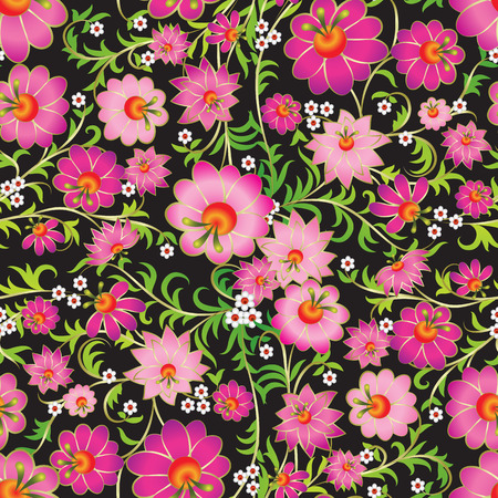 abstract pink seamless spring floral ornament on black background Vector