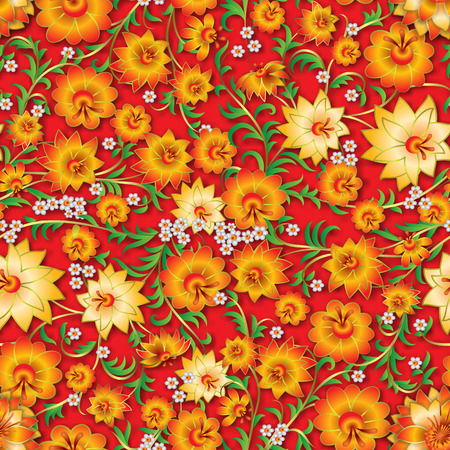 abstract yellow seamless floral ornament and shadows on a red background Vector