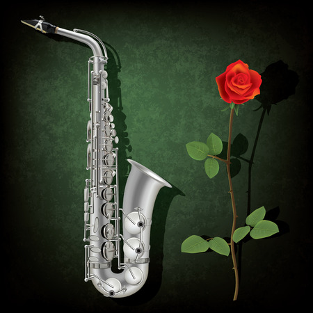 abstract grunge green background with saxophone and rose Vector