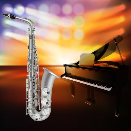 abstrait de jazz avec saxophone et piano à queue sur scène de la musique