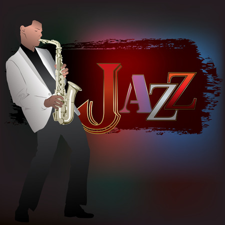 abstract music illustration with saxophone player and word Jazz