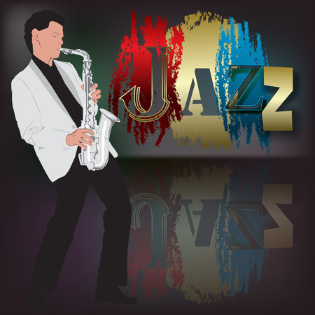 abstract music illustration with saxophone player on scene Vector